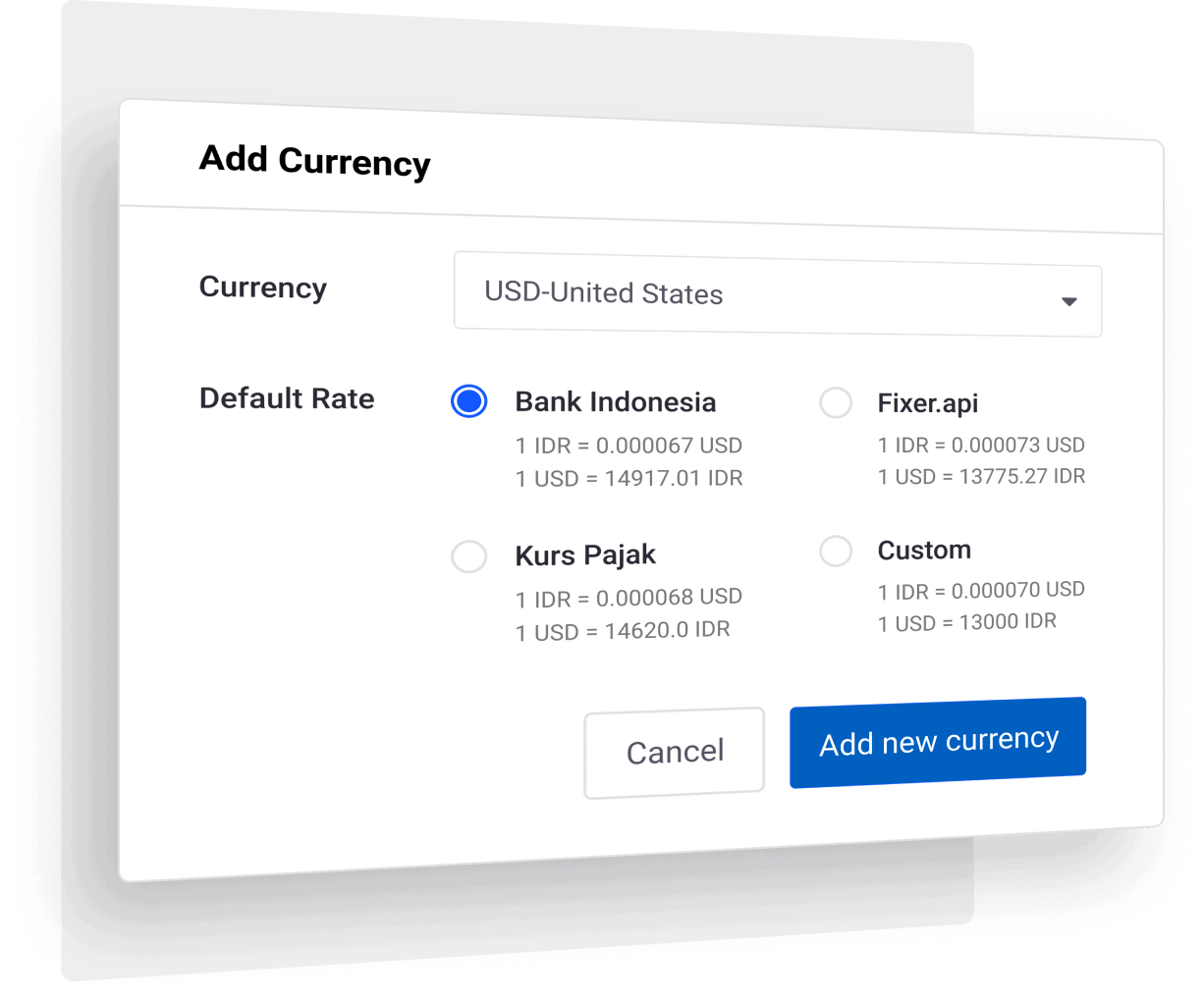 Real time exchange rates with bank rates, taxes and custom